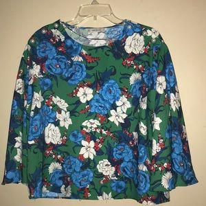 Zara Floral Top with Pearl Buttons